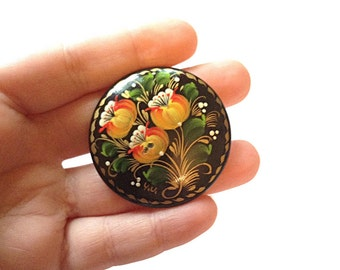 Floral hand painted wooden ring, Ukrainian brooch, upcycled ring, repurposed ring