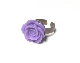 Purple flower ring - rose ring - kawaii flower ring