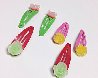 Colorful snap hair clips, pink, yellow, red and green snap clips, flower snap hair clip, hair accessory