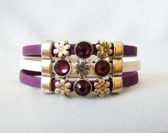 Amethyst Swarovski & Leather Bracelet