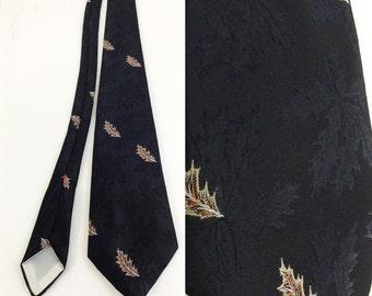 Vintage Black Tie with Leaf Motif