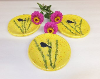 Yellow Dessert Plate with Blue Bird, Spoon Rest, Ring Dish