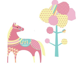 Horse and Tree Wall Decals - Tree and Horse Fabric Wall Decal