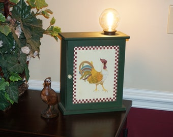 Country styled storage chest becomes a steampunk lamp. Soft lighting using Edison bulb. Uniquely colorful. I'll consider your OFFER!!