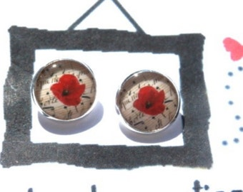 Poppy earrings - Poppy posts - resin earrings Picture - Poppy studs - vintage Poppy earrings - Flower earrings - earrings Poppy - flowers