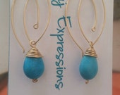 Turquoise and gold drops