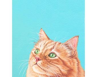 Fluffy Orange Cat Archival Art Print, Colorful Modern Cat Print, Gift for Cat Lover, Affordable Cat Art, Contemporary Orange Cat Print