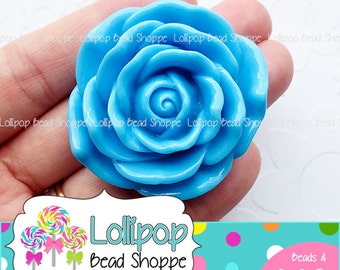 BLUE Jumbo ROSE Beads 45mm Chunky Necklace Beads Resin Flower Beads Large Rose Beads Plastic Roses Bubble Gum Beads Bubblegum Beads