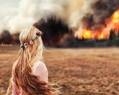 Fine Art Photography Metal Print, Forest Fire, Disaster, Woman with Windswept Hair Watching the Flames, 24 x 24 Metal Print