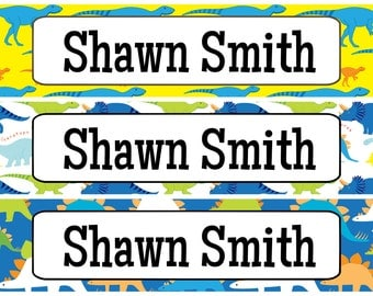 Personalized Waterproof Labels Waterproof Stickers Name Label Dishwasher Safe Daycare Label School Label - Dino Designs