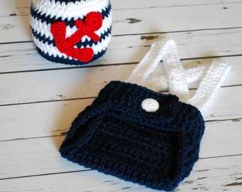 Sailor - Sailor Outfit - Anchor Beanie - Anchor Diaper Cover - Suspenders - Photography Prop - Newborn Prop - 4th of July - 4th of July Prop