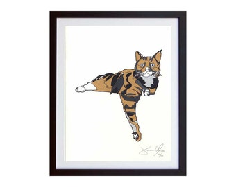Tabby Cat Wall Hanging, Cool Cat Art, Children's Cat Painting