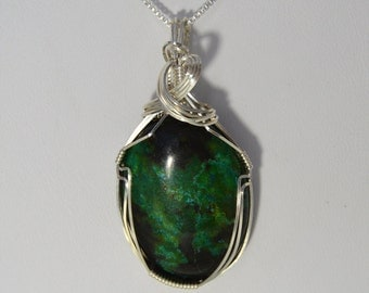 Parrot Wing Wire Wrapped Pendant in Sterling Silver