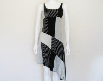 90s Asymmetrical Striped Collage Patchwork print DRESS