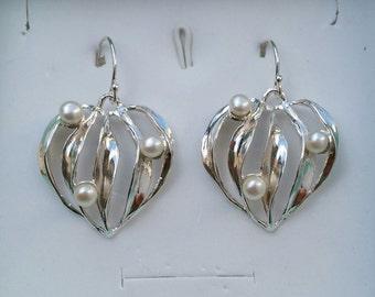 Heart Silver Earrings ,Pearl Silver Earrings ,Sterling Silver Dangle ,Handmade Pearl Earrings ,Bridal Pearl Earrings ,Easter Gift ,Passover