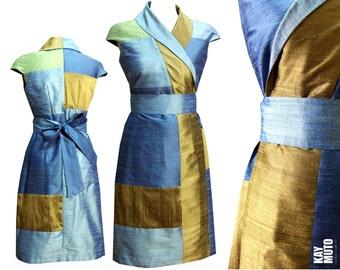 Silk kimono wrap dress Sashiko style blue white willow gold unique size 36 small