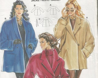 BURDA LADIES JACKET pattern Sizes 10 to 20 uncut and factory folded in english french and netherlands.Belted jacket lined or unlined