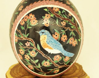 Bluebird in Tree, Ostrich Egg, Dyed Egg, Pysanky, Ukrainian Easter Egg
