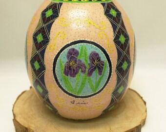 Spring Flower Cameos, Ostrich Egg, Dyed Egg, Pysanky, Ukrainian Easter Egg