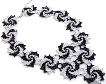 Black white statement bib jewelry Statement Necklace large necklace swirling necklace bib necklace lace necklace best gift for mom seed bead
