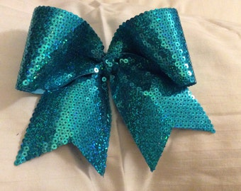 Turquoise Hologrphic sequin Cheer Bow