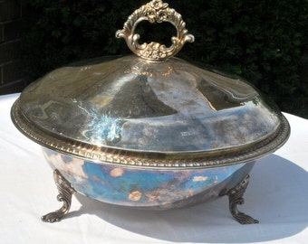Covered Casserole with Pyrex Insert, FB Rogers, Silverplate, Footed