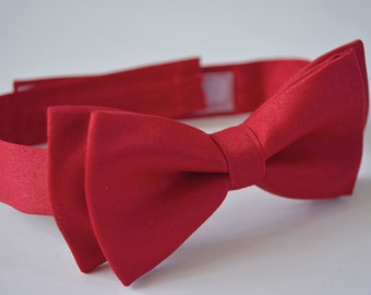 Red satin bow tie for kids