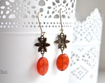 Earrings pearl earrings red stone