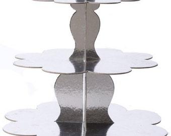 3 Tier Cupcake Stand - Heavy Duty Cardboard - Silver