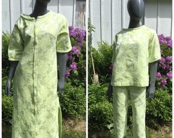 vintage 60s pajamas , 1960s 3 piece set , loungewear  lime green mod 60s capri pants , sm