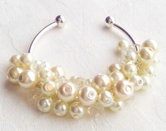 Pearl Cluster Bangle Cluster Jewelry Cream Pearl Bracelet Cluster Bracelet