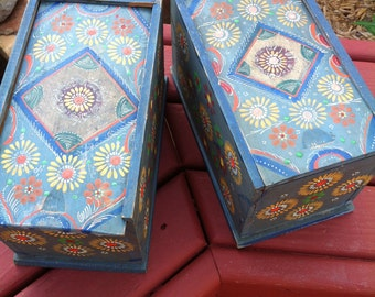 Two Painted Wood Chalk Boxes With Lids