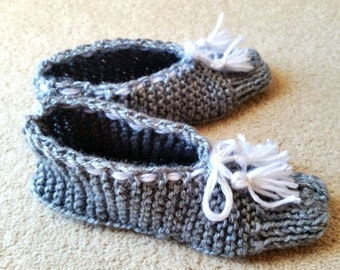 Hand knitted slippers. Womens slippers.Hand knitted  Socks. Made to order