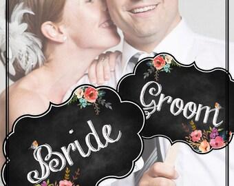 Printable Wedding Signs Bride Groom - Chalk Board ChalkBoard  signage Photobooth props Vintage Wedding  INSTANT DOWNLOAD