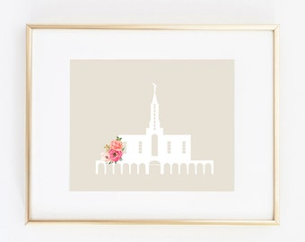 bountiful utah lds temple floral 8x10 art print instant download