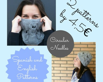 Two awesome knitting patterns: owls hat and cowl, for circular needles