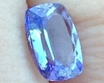 Lavender Tanzanite 1.30 Carat Cushion 6x8mm Natural Periwinkle Gemstone with Video