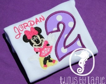 Custom Embroidered Minnie Mouse Birthday Shirt