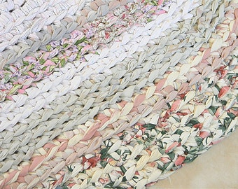 "Rag Rug Large Oval  32"" x 76"" Handmade Cotton ""braided"" Crochet Rug - CUSTOM ORDER  in Soft Pastel Colors  Rag Rug"