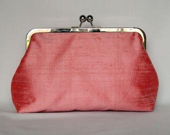 Rose Pink Clutch, Clutch Purse, Silk Clutch, Bridal Clutch, UK, Wedding Clutch, Bridesmaid Gift, Bridesmaid Clutch, Rose Pink Silk Clutch