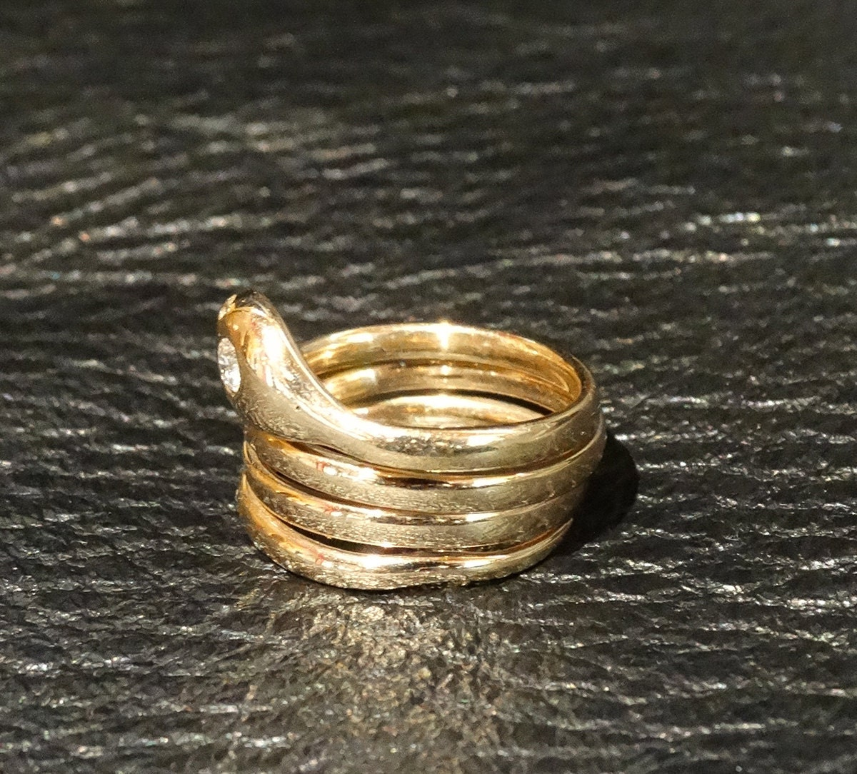 antique snake ring 14k gold 1800s by elegantartifacts
