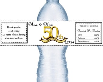 49 50th Anniversary Water Bottle Labels