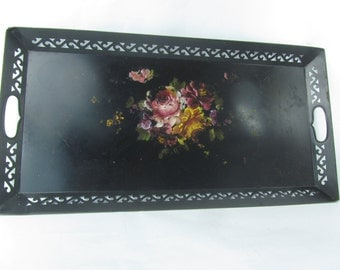 Tole Tray, Metal Tray, hand painted Tray, vintage tray, vintage tray, shabby chic tray,black