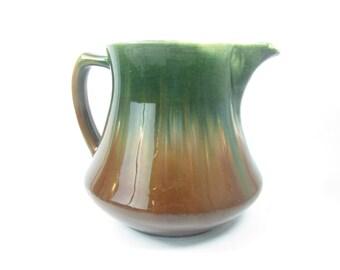 Vintage pitcher, jug,Pottery Pitcher, Vintage Pottery, GreenPitcher, kitchen decor, primitve decor, green,brown,drip glaze,