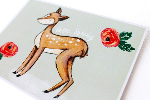 Happy spring card with a cute fawn surrounded by pink and red flowers