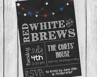 Chalkboard Fourth of July Invitation