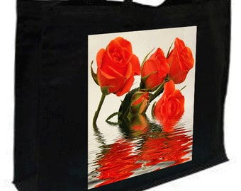 Roses  Cotton Shopping Bag with gusset and long handles, 3 colour options