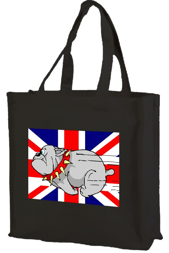 Running British Bulldog Union Jack Cotton Shopping Bag with gusset and long handles, 3 colour options