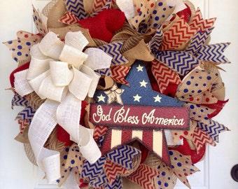Patriotic Burlap wreath, USA, Fourth of July, Burlap wreath, Patriotic, Americana, Red, white and blue
