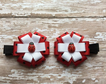 Ladybug Hair Bow Clip Set - Ladybug Hair Bow Set - Girls Ladybug Hair Clips - Ladybug Hair Accessories - Ladybug Bows - Ladybug Hair Bow
